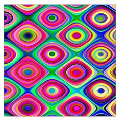 Psychedelic Checker Board Large Satin Scarf (square) by KirstenStar