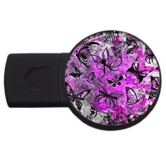 Butterfly Graffiti 2gb Usb Flash Drive (round) by ArtistRoseanneJones