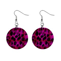 Pink Leopard Mini Button Earrings by ArtistRoseanneJones
