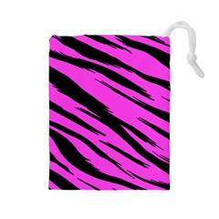 Pink Tiger Drawstring Pouch (large)