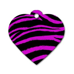 Pink Zebra Dog Tag Heart (one Sided)