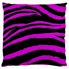 Pink Zebra Large Flano Cushion Case (two Sides)