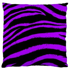 Purple Zebra Large Flano Cushion Case (two Sides) by ArtistRoseanneJones