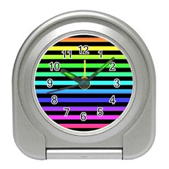 Rainbow Stripes Desk Alarm Clock by ArtistRoseanneJones