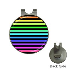 Rainbow Stripes Hat Clip With Golf Ball Marker by ArtistRoseanneJones