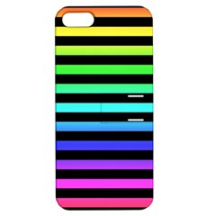 Rainbow Stripes Apple Iphone 5 Hardshell Case With Stand by ArtistRoseanneJones