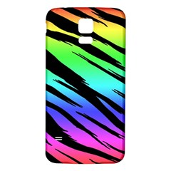 Rainbow Tiger Samsung Galaxy S5 Back Case (white) by ArtistRoseanneJones