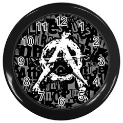 Anarchy Wall Clock (black) by ArtistRoseanneJones