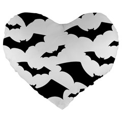 Deathrock Bats Large 19  Premium Flano Heart Shape Cushion by ArtistRoseanneJones