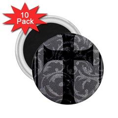 Goth Brocade Cross 2 25  Button Magnet (10 Pack)