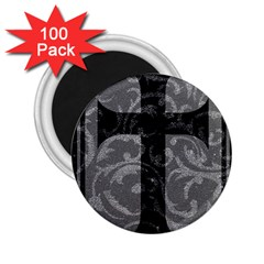 Goth Brocade Cross 2 25  Button Magnet (100 Pack)