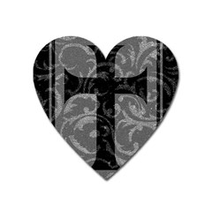 Goth Brocade Cross Magnet (heart) by ArtistRoseanneJones