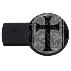 Goth Brocade Cross 2gb Usb Flash Drive (round) by ArtistRoseanneJones