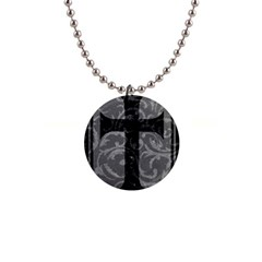 Goth Brocade Cross Button Necklace by ArtistRoseanneJones