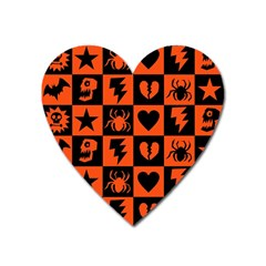 Goth Punk Checkers Magnet (heart) by ArtistRoseanneJones