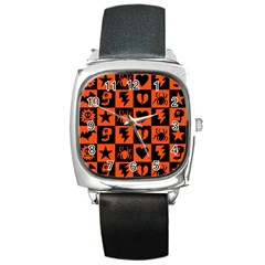 Goth Punk Checkers Square Leather Watch by ArtistRoseanneJones