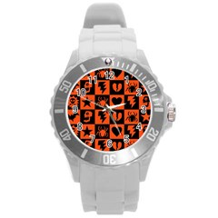 Goth Punk Checkers Plastic Sport Watch (large) by ArtistRoseanneJones