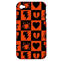 Goth Punk Checkers Apple Iphone 4/4s Hardshell Case (pc+silicone) by ArtistRoseanneJones