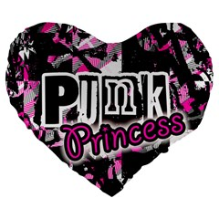 Punk Princess Large 19  Premium Flano Heart Shape Cushion by ArtistRoseanneJones