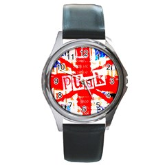 Punk Union Jack Round Leather Watch (silver Rim) by ArtistRoseanneJones