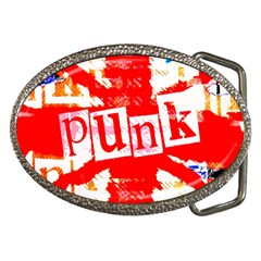 Punk Union Jack Belt Buckle (oval) by ArtistRoseanneJones