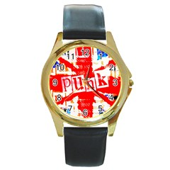 Punk Union Jack Round Leather Watch (gold Rim)  by ArtistRoseanneJones