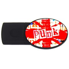 Punk Union Jack 2gb Usb Flash Drive (oval) by ArtistRoseanneJones