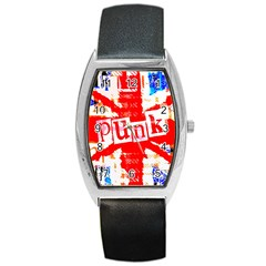 Punk Union Jack Tonneau Leather Watch by ArtistRoseanneJones
