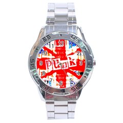 Punk Union Jack Stainless Steel Watch by ArtistRoseanneJones