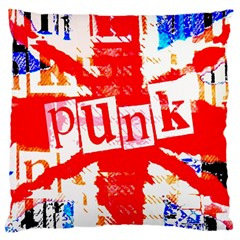 Punk Union Jack Large Cushion Case (two Sided)  by ArtistRoseanneJones