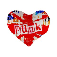 Punk Union Jack Standard 16  Premium Heart Shape Cushion  by ArtistRoseanneJones