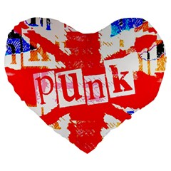 Punk Union Jack Large 19  Premium Heart Shape Cushion by ArtistRoseanneJones