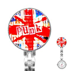 Punk Union Jack Stainless Steel Nurses Watch by ArtistRoseanneJones