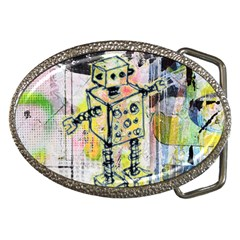 Graffiti Graphic Robot Belt Buckle (oval)