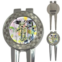 Graffiti Graphic Robot Golf Pitchfork & Ball Marker