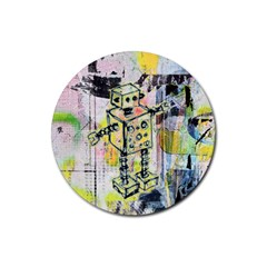 Graffiti Graphic Robot Drink Coasters 4 Pack (round) by ArtistRoseanneJones