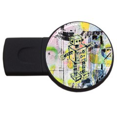 Graffiti Graphic Robot 2gb Usb Flash Drive (round) by ArtistRoseanneJones
