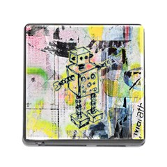 Graffiti Graphic Robot Memory Card Reader With Storage (square) by ArtistRoseanneJones