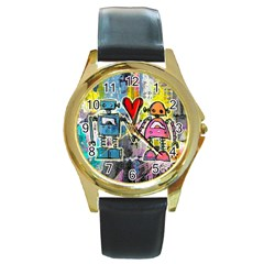 Graffiti Pop Robot Love Round Leather Watch (gold Rim)  by ArtistRoseanneJones