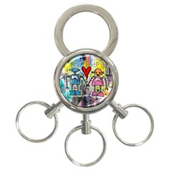 Graffiti Pop Robot Love 3 Ring Key Chain by ArtistRoseanneJones