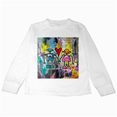 Graffiti Pop Robot Love Kids Long Sleeve T Shirt