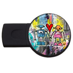 Graffiti Pop Robot Love 4gb Usb Flash Drive (round) by ArtistRoseanneJones