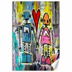 Graffiti Pop Robot Love Canvas 12  X 18  (unframed) by ArtistRoseanneJones