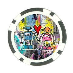 Graffiti Pop Robot Love Poker Chip by ArtistRoseanneJones