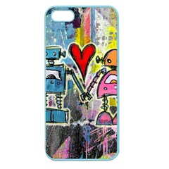 Graffiti Pop Robot Love Apple Seamless Iphone 5 Case (color) by ArtistRoseanneJones