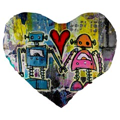 Graffiti Pop Robot Love Large 19  Premium Heart Shape Cushion by ArtistRoseanneJones