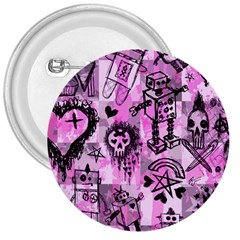 Pink Scene Kid Sketches 3  Button by ArtistRoseanneJones