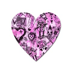 Pink Scene Kid Sketches Magnet (heart) by ArtistRoseanneJones