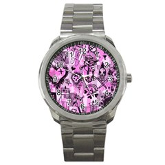 Pink Scene Kid Sketches Sport Metal Watch