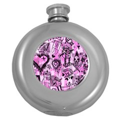 Pink Scene Kid Sketches Hip Flask (round) by ArtistRoseanneJones